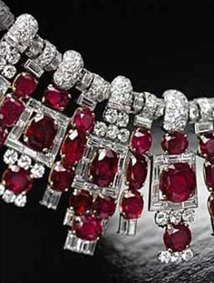 Cartier Necklace  1937, contains 116 rubies from the Mogok Mines in Burma.