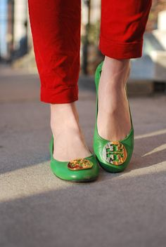 Oh Christmas time....Tory Burch Green Revas...... even though mine dig in my ankles, when it comes to fashion, you just walk, smile & grind your teeth, teehee!