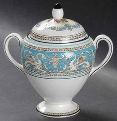 """Wedgwood Florentine Turquoise Globe-Shaped Sugar w/Lid, 4"""" tall. $94.95 at Replacements.com on ebay, 4/21/16"""