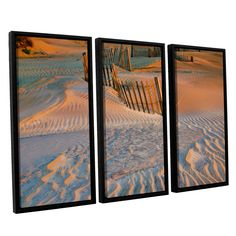 ArtWall Steve Ainsworth 'Dune Patterns Ii' 3 Piece Floater Framed Set