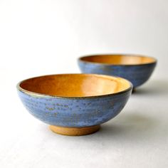 Cinnamon Blues wheel thrown small ceramic bowls