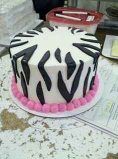 Zebra Print Cake for Birthdays, Sweet 16's, and bachelorette's. The space on top is for a martini glass or writing!