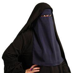 Einlagige Niqab - DUNKELBLAU - Islamische Kleidung - 11-3004