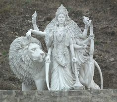 Sculpture- Mysticism Three Masters with Durga Goddess Mysticism Three Masters Goddess Art, Durga Goddess, Indian Gods, Indian Art, Shiva, Krishna, Religions Du Monde, Divine Mother, Durga Maa