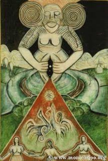 Sacred Yoni/Sheela-Na-Gig Goddess. Divine Mother, Mother Goddess, Ancient Goddesses, Gods And Goddesses, Sacred Feminine, Divine Feminine, Holy Symbol, Birth Art, Legends And Myths