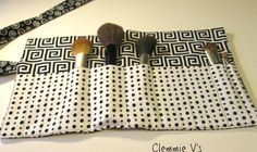 Black and White Geometric Polk a Dot Brush Roll by ClemmieVs