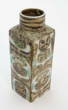 c.1960 MCM, Royal Copenhagen faience square shaped vase by; Nils Thorsson...