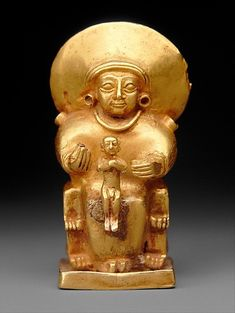 Golden statue of Hittite goddess Statue is only 4.3cm high and 1.7cm wide. Hittite Empire, 14th - 13th century BC.  Source: Metropolitan Museum