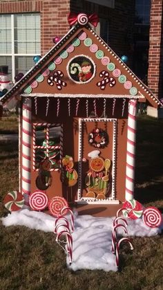 DIY Life-sized gingerbread house created for Christmas yard decor
