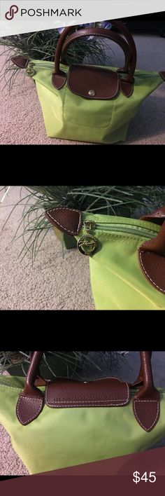 Longchamp Mini Le Pliage Lime Tote Cutest little handbag ever great for summer, use when traveling. Little dirty on the inside, clean up easily. Longchamp Bags Totes