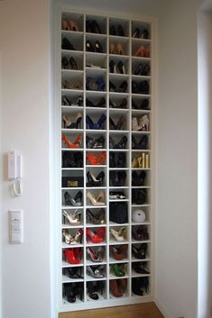 Bedroom closet doors Shoe storage ideas for small spaces bedrooms shelves 60 ideas Youth Sp Shoe Storage Bins, Shoe Storage Solutions, Closet Shoe Storage, Small Space Storage, Wardrobe Storage, Diy Storage, Storage Spaces, Garage Storage, Storage Cabinets