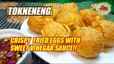 Tokneneng is one of the popular street foods made from chicken or duck eggs, coated with crispy orange colored batter. The smaller version is called kwek-kwek Duck Eggs, Quail Eggs, Happy Pills, Sweet Sauce, Chicken Eggs, Street Food, Vinegar, Breakfast Recipes, Appetizers
