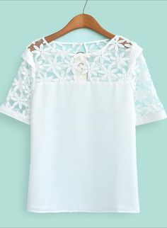 To find out about the White Short Sleeve Embroidery Lace Sheer Shoulder Blouse at SHEIN, part of our latest Blouses ready to shop online today! Playing Dress Up, Fashion Outfits, Womens Fashion, Spring Summer Fashion, Spring 2014, Passion For Fashion, Dress To Impress, Ideias Fashion, Shirt Designs