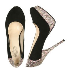 Glitter Platform Heel ($19) ❤ liked on Polyvore featuring shoes, pumps, heels, zapatos, sapatos, women, glitter pumps, platform shoes, round toe pumps and glitter shoes
