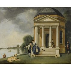Johann Zoffany The Garden at Hampton House with Mr.&Mrs. David Garrick Taking Tea & the Shakespeare Temple  at Hampton. 1762  Sotheby's