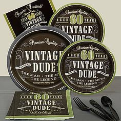 Our Vintage Dude 60 Basic Party Pack includes table service for eight people including invitations to make your birthday party a great success.