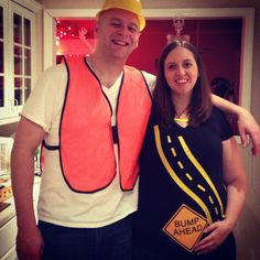 """Our Halloween couple costume this year to incorporate my pregnant baby bump! """"Bump Ahead"""" sign made in Photoshop plus some yellow electrical tape for me, a $4 safety vest from Harbor Freight Tools plus a construction hat from a party store for my husband! Easy and fun!"""