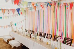 Molly & Nathan's wedding is a real life DIY fest full of amazing details but mos… - Diy Event Coral Wedding Decorations, Backdrop Decorations, Diy Party Decorations, Birthday Streamers, Wedding Streamers, Ribbon Backdrop, Ribbon Wall, Diy Fest, Carousel Birthday Parties