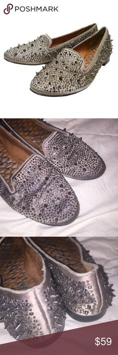 Sam Edelman Adena spiked rhinestone flats gunmetal This is a gorgeous pair of Sam Edelman Adena flats. They are gunmetal size 8.5. Great condition.  Spikes and sequins provide an edgy update to a loafer-inspired flat fashioned in satin. Fabric upper/leather lining and sole. By Sam Edelman; imported. Sam Edelman Shoes Flats & Loafers