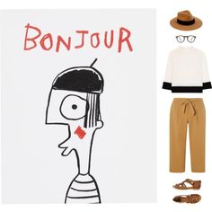 Bonjour by zuevich on Polyvore featuring Victoria, Victoria Beckham, Dorothy Perkins, BC, rag & bone, Oliver Peoples and House by John Lewis white top, beige pants, brown sandals, hat,