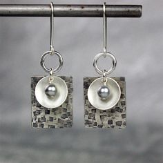 Geometric Silver Earrings, Textured, Stamped, Modern