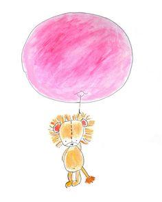 Nursery Art Print Kids Wall Art Lionness With Pink by PinwheelKids, $20.00