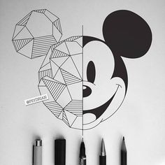 Disney Art Geometric Mickey Mouse - - Beste Pins - all - Z Mesh, A Mickey Mouse Drawings, Disney Drawings, Cartoon Drawings, Cute Drawings, Mickey Mouse Art, Mickey Drawing, Drawing Disney, Cool Small Drawings, Mickey Mouse Sketch