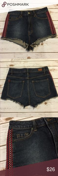 """Urban Outfitters High Rise Cheeky Shorts BDG Preowned high waisted Cheeky shorts. In very good condition. Worn a few times. Has a beautiful tribal design on the sides. Length is 10"""". Reasonable offers considered through offer button button. Urban Outfitters Shorts Jean Shorts"""