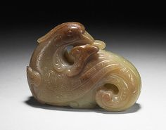Mandarin Duck with Scrolls, China, Yuan or early Ming dynasty, about 1279-1450, Abraded jade