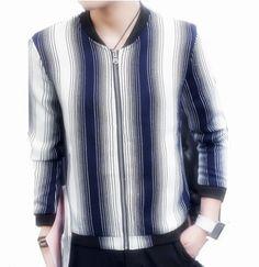 Fashion striped bomber jacket for men long sleeve jacket coat plus size clothing