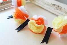 Candy Corn mini pom garland by Icing Designs