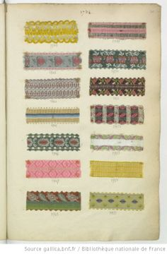 "Cool website where you can see many examples of 1730s ribbons and fabric samples by searching ""échantillons rubans tissus"""