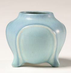 Rookwood 1924 Footed Art Pottery Vase Blue Drip