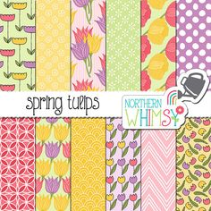 "Floral Digital Paper - ""Spring Tulips"" - flower seamless patterns in pink, purple, yellow & green - tulip scrapbook paper - commercial use"