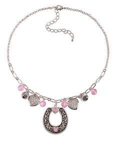 Montana Silversmiths Silver-tone Horseshoe & Hearts Charms Necklace