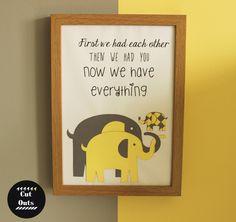 Nursery artwork. A family of elephants. by CutOutsProductDesign on Etsy