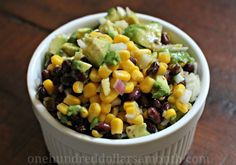 Corn, black beans and avocado.  Sounds like dinner to me!