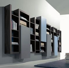 SIDE SYSTEM 93 - Suspended library with elegant and essential design in Tobacco… Wardrobe Interior Design, Best Interior Design Websites, Interior Design Tips, Interior Decorating, Tv Wall Design, Bookshelf Design, Discount Interior Doors, Wide Bookcase, Movable Walls