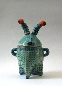 Norman is a blue sugar bowl, unique handmade design by LimorsCeramicsShop