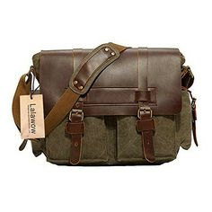 Lalawow Unisex Vintage CRAZY HORSE Genuine Leather With Canvas Briefcase Messenger Bag Cross-body Bags For 14inch Laptop Cell Phone Galaxy Note Nexus Ipad 1/2/3/4/5 Mini Gadgets Keys Purse (52 Green) Lalawow http://www.amazon.com/dp/B00OR755VQ/ref=cm_sw_r_pi_dp_-jB1wb10B5SX7