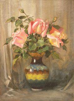 Wacław CHODKOWSKI,Róże w wazonie , olej, płótno, 48 x 35 cm