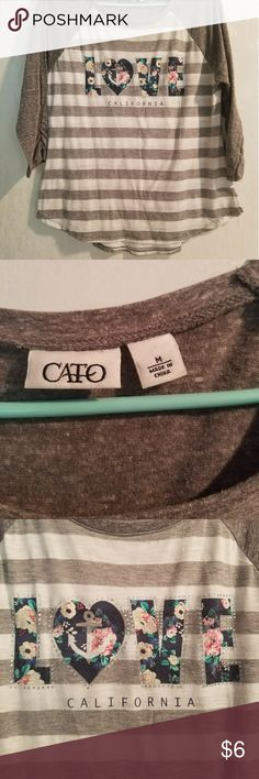 Grey & White 3/4 sleeve tee Says Love is floral with an anchor. Worn maybe 2 times. Cato Tops Tees - Long Sleeve