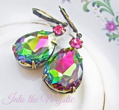 so pretty! I think I'd have to invent an occasion to wear these :) Vitrail Vintage Estate Style Earrings Pear teardrop with rainbow effects, set in antique patina brass and suspend from leverback ear-wire by deborahmcgovern jewelry on etsy, $22.00