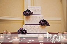 Elegant Fall Garden Modern Rustic Shabby Chic Spring Summer Winter Ivory Purple Square Wedding Cakes Photos & Pictures - WeddingWire.com