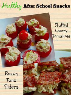 Healthy After School Snacks - Stuffed Cherry Tomatoes & Bacon Tuna Sliders featuring @bumblebee #TunaStrong #CG #ad