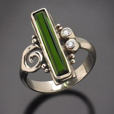 One of a Kind 14Kt White Gold Green Tourmaline by RichelleJewelry