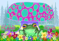 A frog under a mushroom with flowers and trees