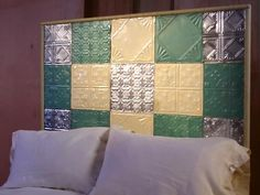 How To Make a Quilt-Patterned Headboard With Tin Tiles