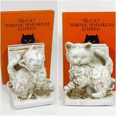 1966 Vintage CAT Statuary Bookends White от PeachyChicBoutique