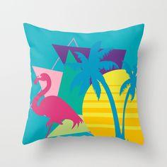 80s flamingo Throw Pillow